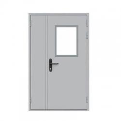 Дверь противопожарная металлическая ДПМ-2 EIS-60 (двуполая с остеклением)